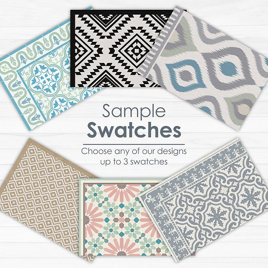 Swatches - Marrakesh purple and green, Marrakesh blue and gray,  Tangier terraco