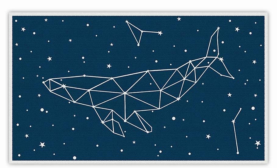 Whale - Vinyl Floor Mat - Blue cosmic theme