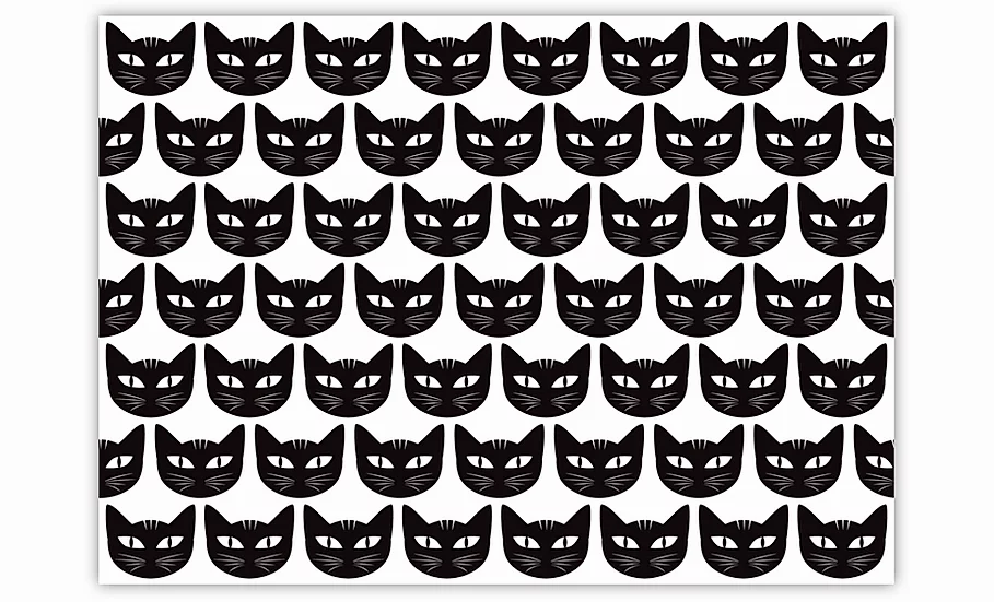 Cats  - Vinyl Pet Placemat - Black animals theme pattern