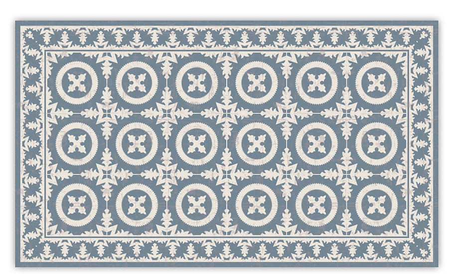 Verona - Vinyl Floor Mat - Blue Italian tiles pattern