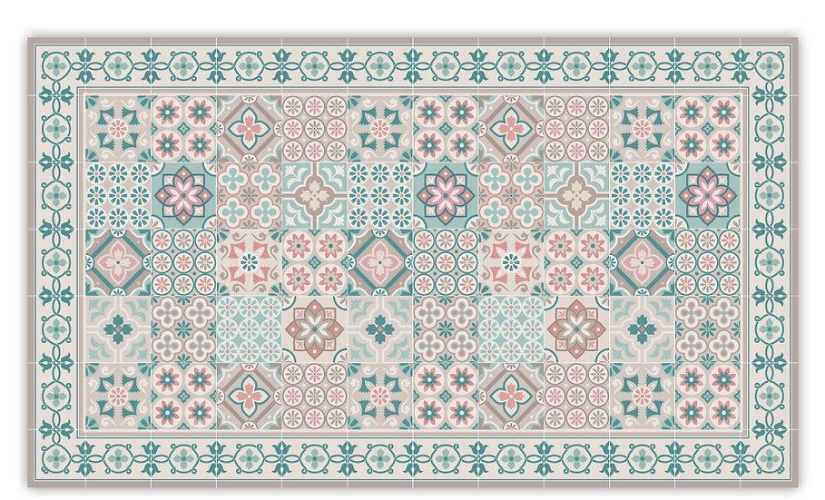 Retro - Vinyl Floor Mat - Turquoise mixed tiles pattern