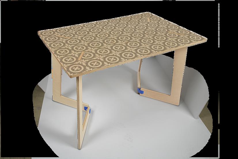"""שולחן עץ מודפס - דגם קאריה ורונה בז' 118/74 ס""""מ"""