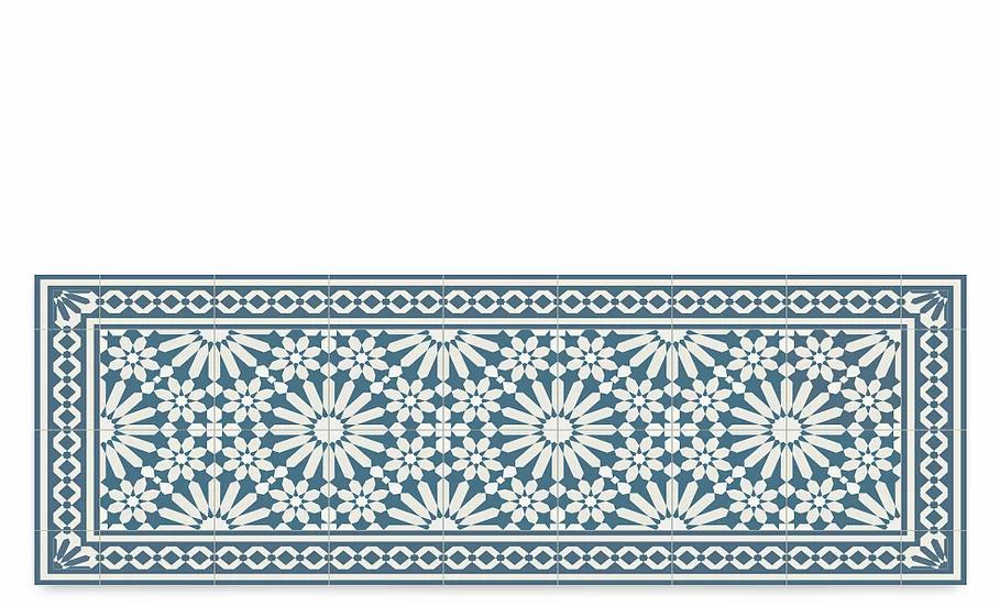 Tangier - Vinyl Table Runner - Blue Moroccan tiles pattern