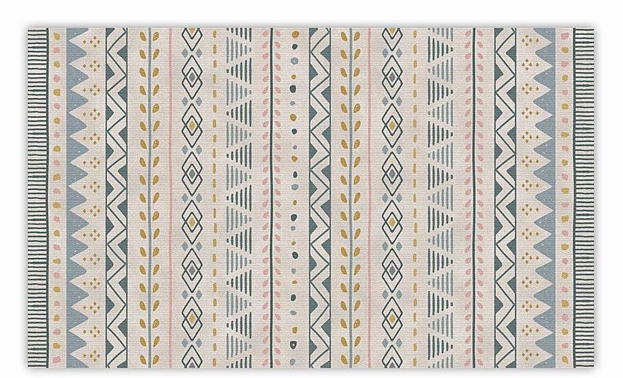 Jordan - Vinyl Floor Mat - Gold and pink ethnic pattern