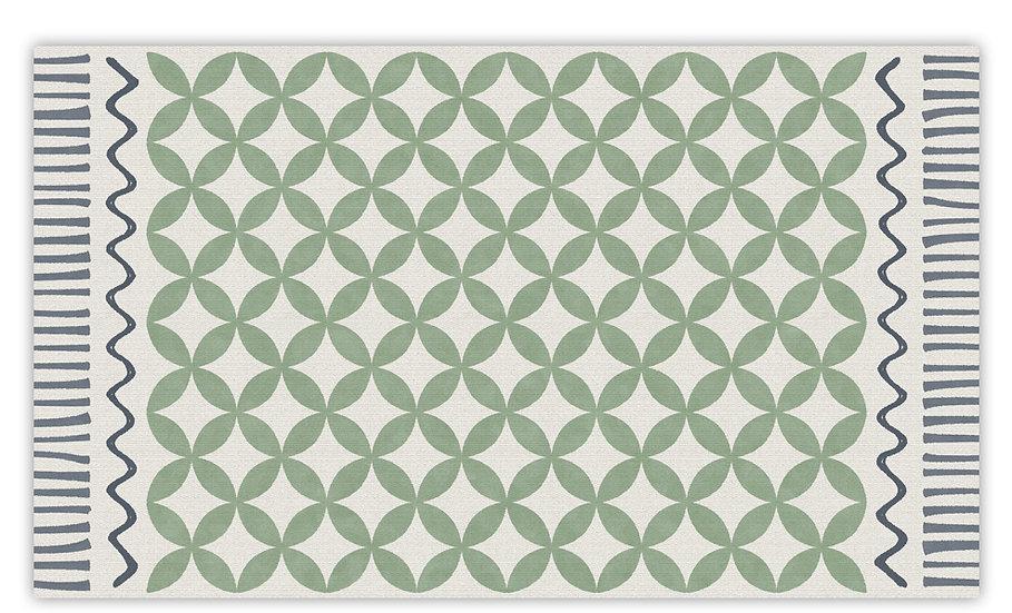 Venus - Vinyl Floor Mat - Green graphic pattern