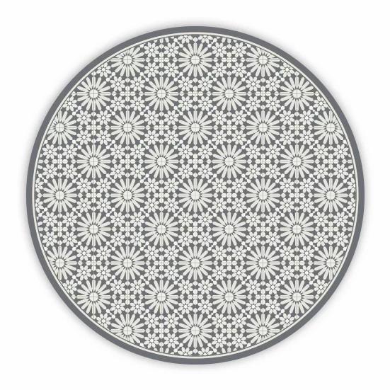 Round Tangier - Vinyl Floor Mat - Gray Moroccan tiles pattern
