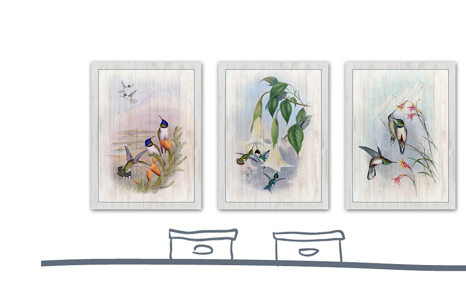 תמונת עץ שלישיית איורי ציפורים2 במגוון מידות