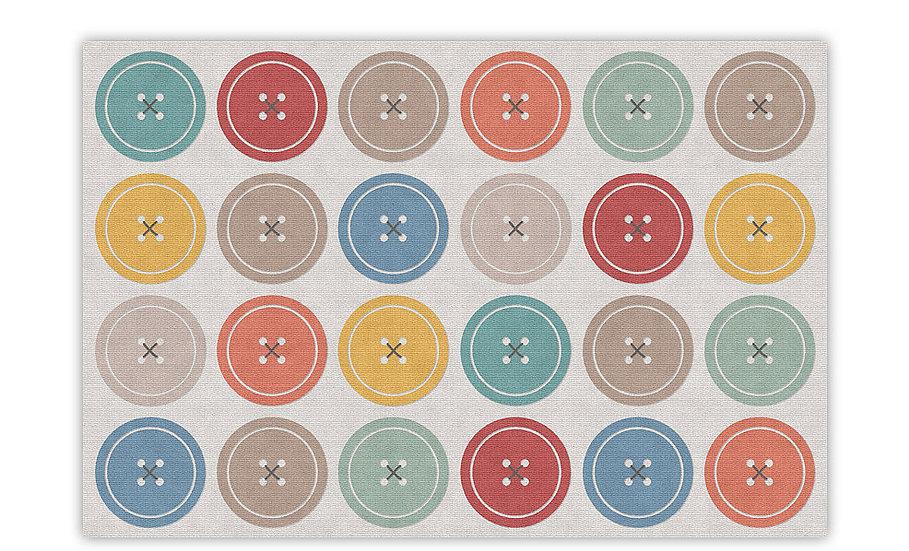 Buttons - Vinyl Floor Mat - Colorful playful theme pattern