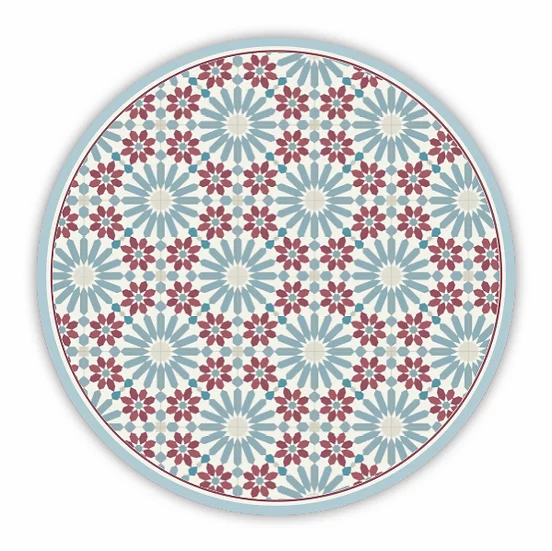 Round Marrakesh - Vinyl Floor Mat - Bordeaux and blue Moroccan tiles pattern