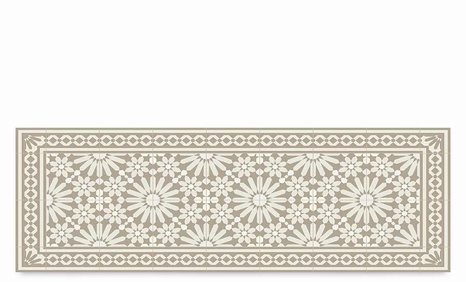 Tangier - Vinyl Table Runner - Beige Moroccan tiles pattern