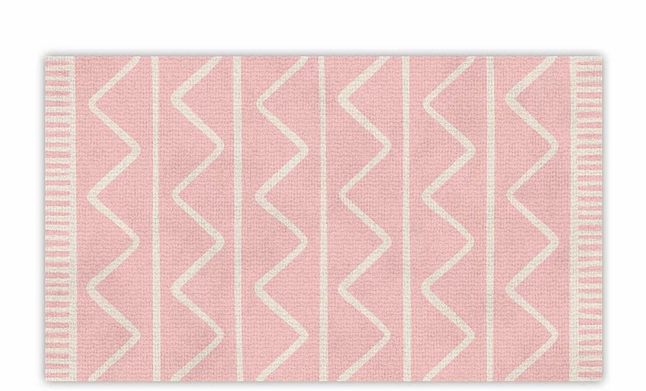 Zigzag - Vinyl Floor Mat - Pink graphic pattern