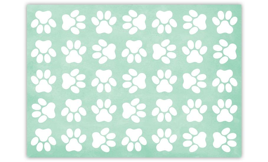 Paws  - Vinyl Pet Placemat - Mint animals theme pattern
