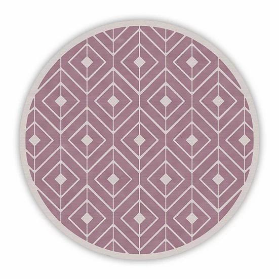 Round Kaya - Vinyl Floor Mat - Filled pink graphic pattern