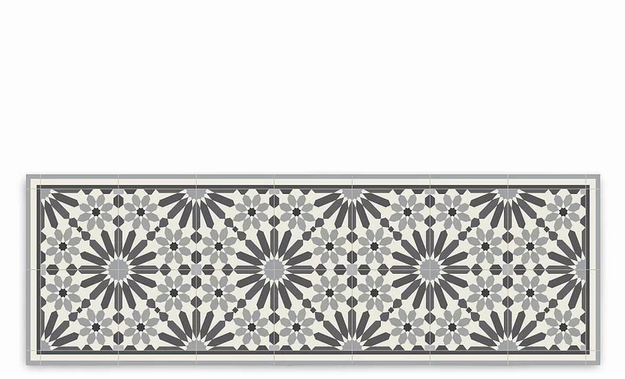 Marrakesh - Vinyl Table Runner - Gray Moroccan tiles pattern