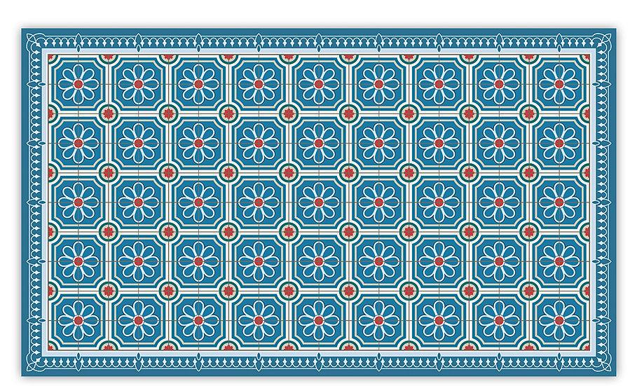 Emilia - Vinyl Floor Mat - Blue Spanish tiles pattern