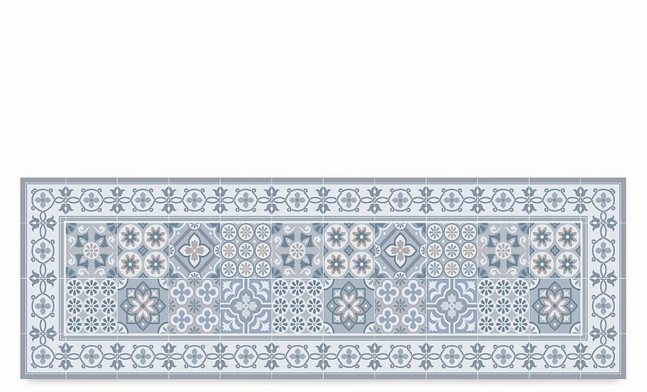 Retro - Vinyl Table Runner - Gray mixed tiles pattern