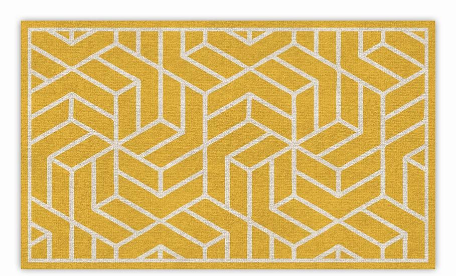 Chelsea - Vinyl Floor Mat - Yellow graphic pattern