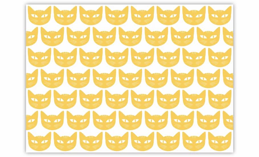 Cats  - Vinyl Pet Placemat - Yellow animals theme pattern