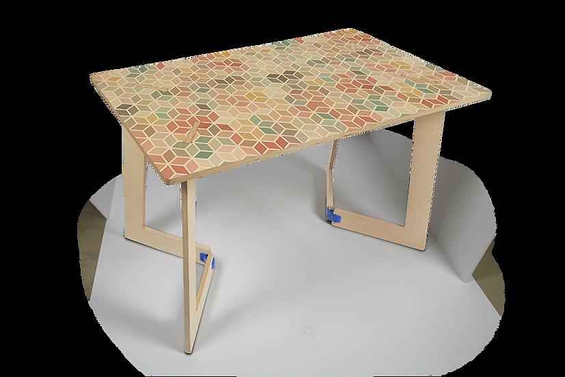 """שולחן עץ מודפס - דגם קאריה רטרו צבעוני 118/74 ס""""מ"""