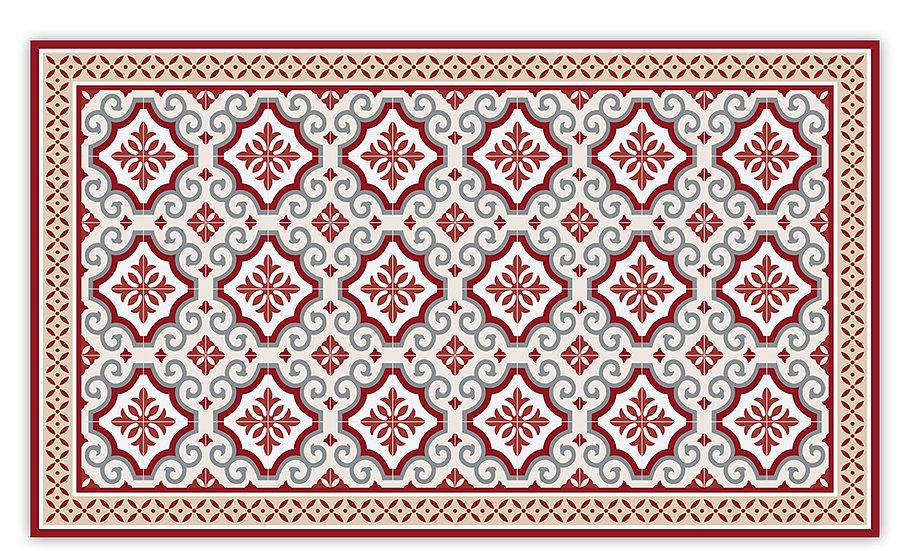 Clasico - Vinyl Floor Mat - Red Spanish tiles pattern