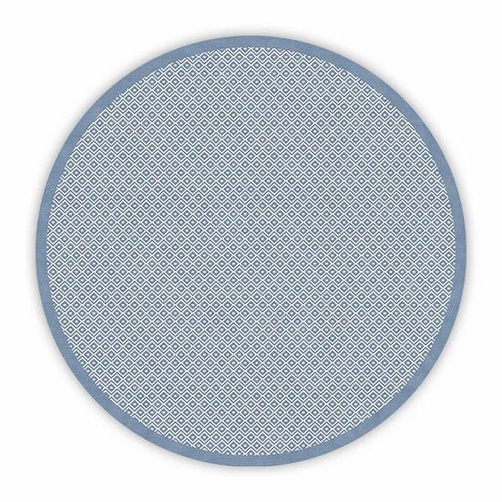 Round Margo - Vinyl Floor Mat - Blue graphic pattern