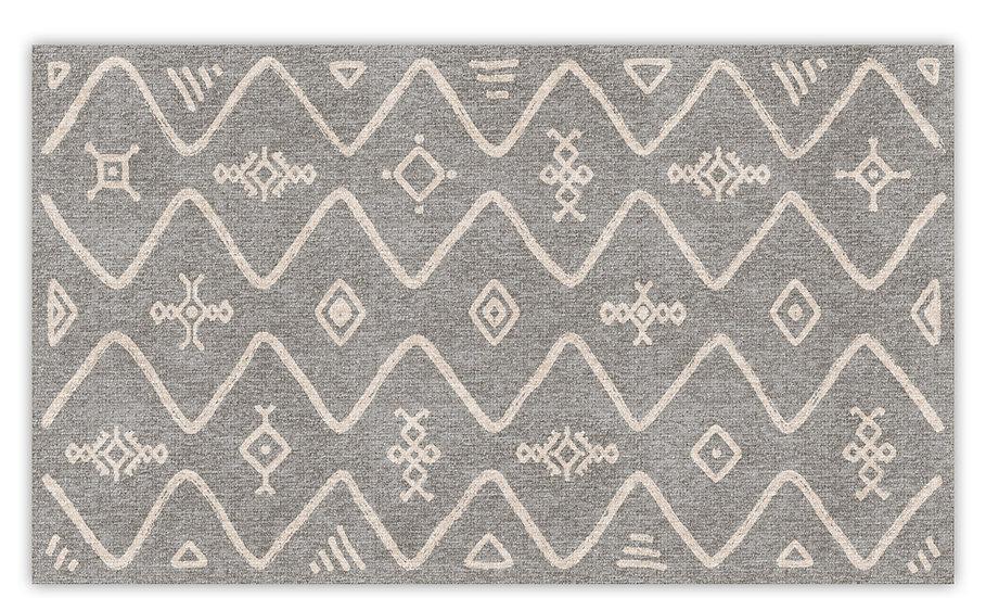 Serena - Vinyl Floor Mat - Light gray ethnic pattern