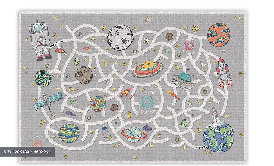 שטיח פיויסי מבוך בחלל אפור לילדים - במגוון מידות