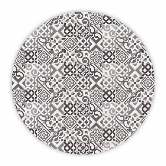 Round Portugal - Vinyl Floor Mat - Gray mix tiles pattern