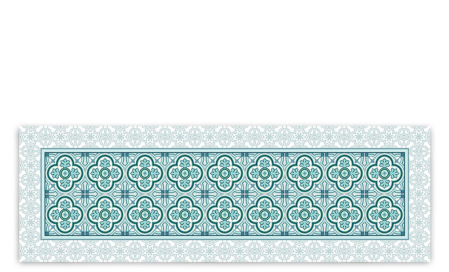 Henry - Vinyl Table Runner - Turquoise classic tiles pattern