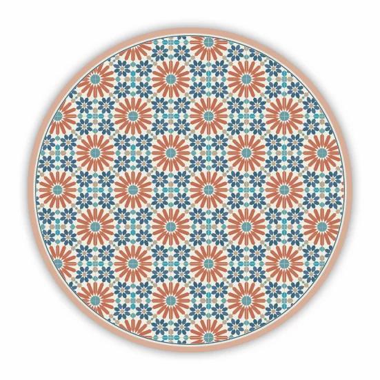 Round Marrakesh - Vinyl Floor Mat - Orange Moroccan tiles pattern