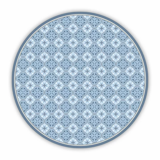 Round Andrea - Vinyl Floor Mat - Blue Spanish tiles pattern