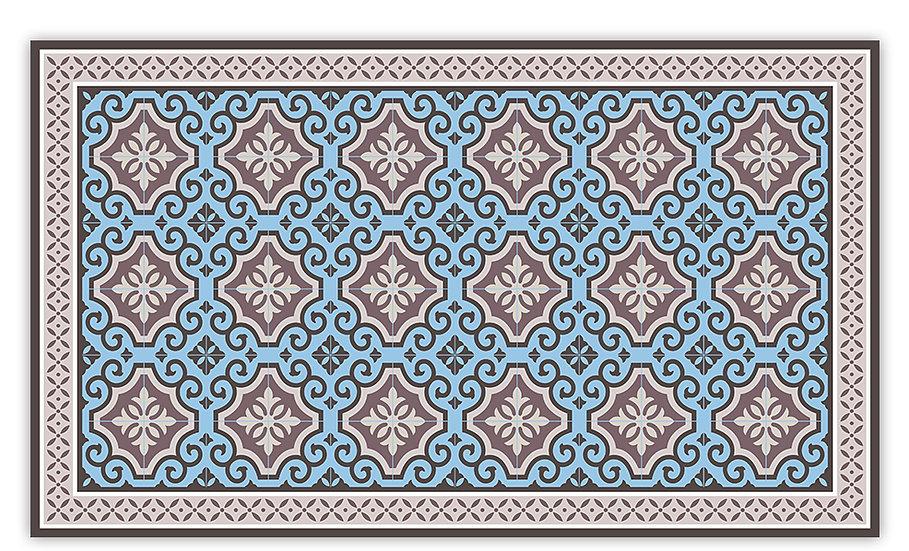 Clasico - Vinyl Floor Mat - Blue Spanish tiles pattern