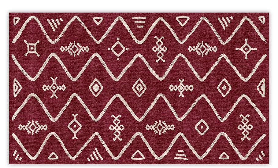 Serena - Vinyl Floor Mat - Bordeaux ethnic pattern