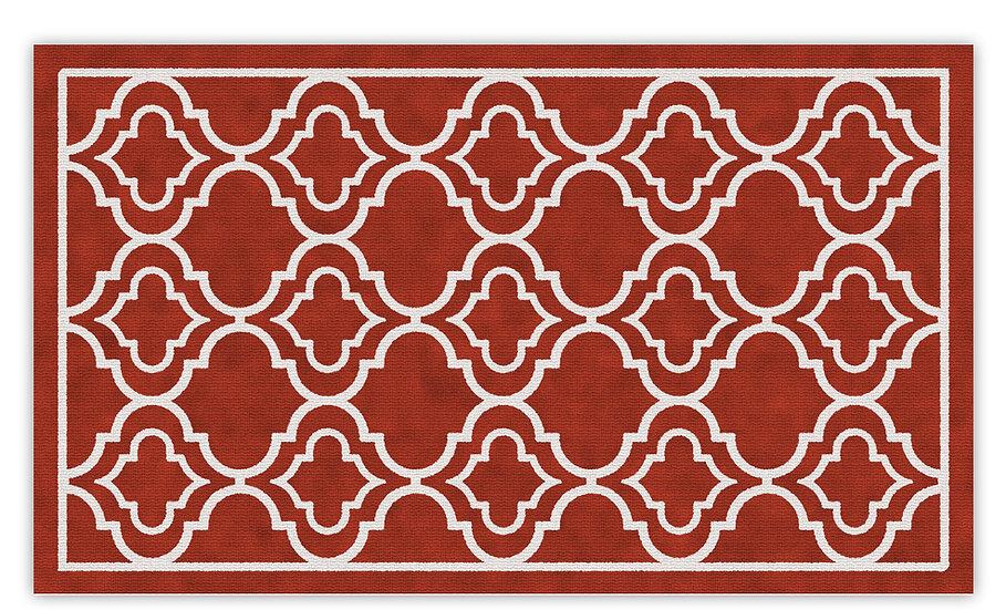 Delhi - Vinyl Floor Mat - Red classic ethnic pattern