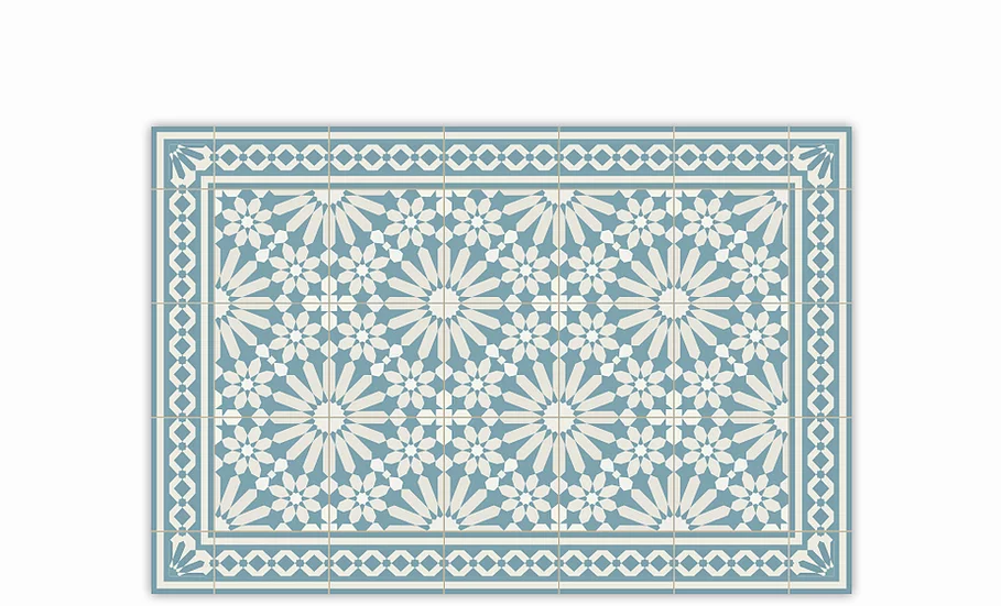 Tangier - Vinyl Table Placemat - Light blue Moroccan tiles pattern