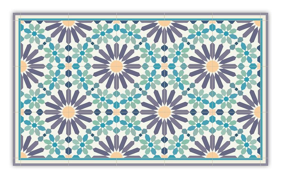 Marrakesh - Vinyl Floor Mat - Purple and green Moroccantiles pattern