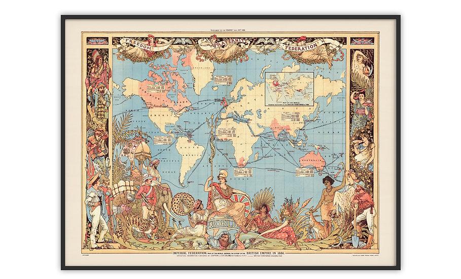 מפה עתיקה ממוסגרת במגוון מידות - האימפריה הבריטית 1886