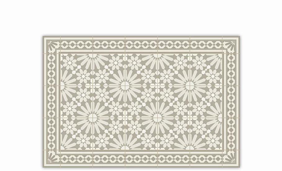 Tangier - Vinyl Table Placemat - Beige Moroccan tiles pattern