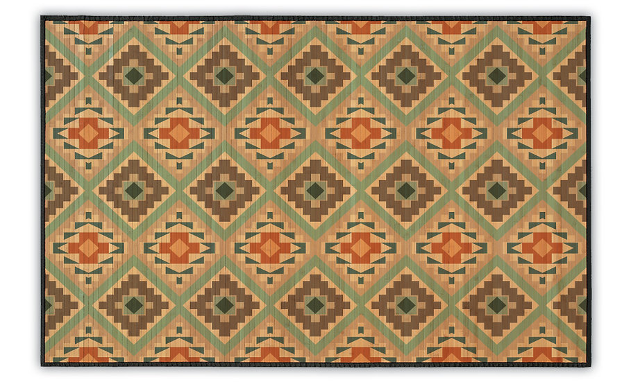 Mika - Bamboo Mat - Colorful ethnic pattern