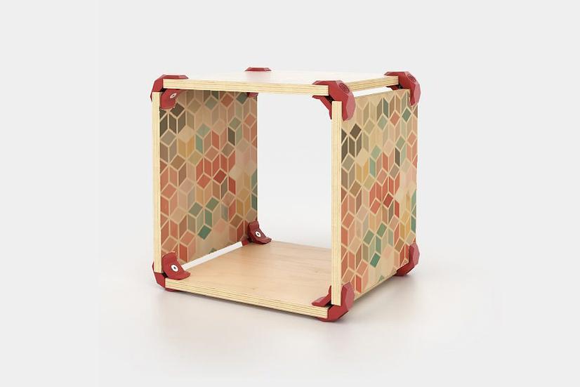 כוורת מודולארית מודפסת - דגם קיוב רטרו צבעוני