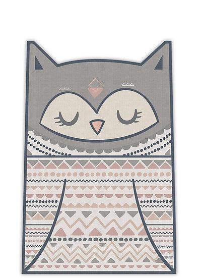 שטיח קצר בצורת ינשוף בגווני וורוד ואפור- במגוון מידות