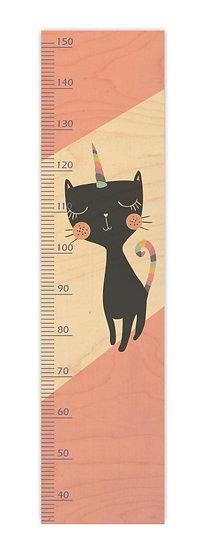 """מד גובה מעץ חתולה אפורה חד קרן -  120/30 ס""""מ"""