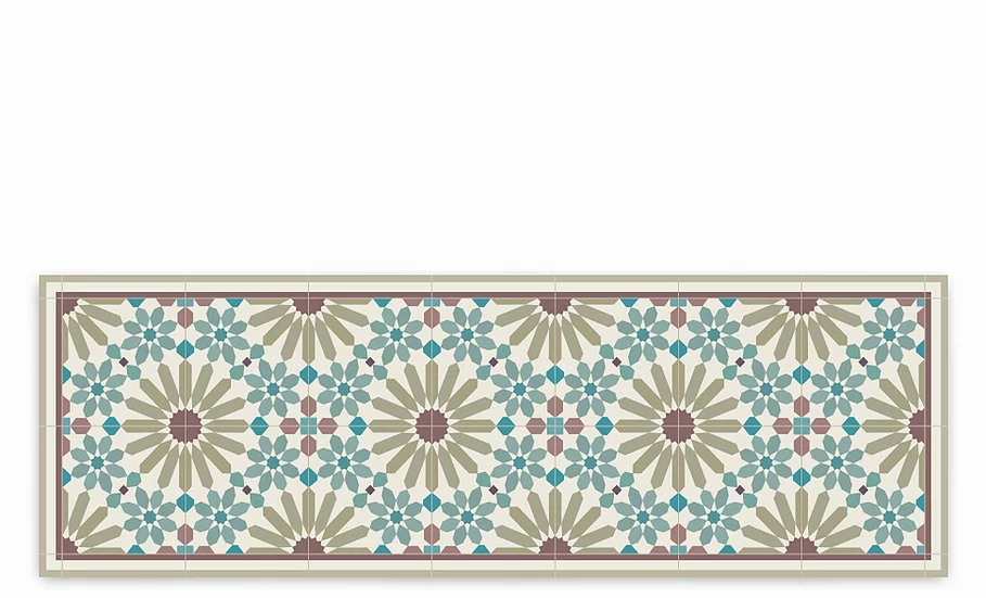 Marrakesh - Vinyl Table Runner - Sienna Moroccan tiles pattern