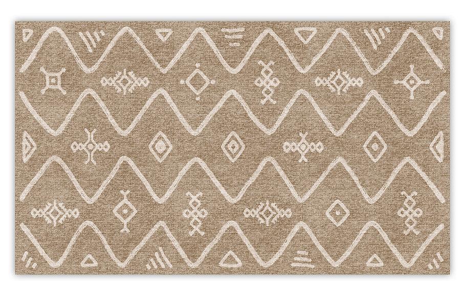 Serena - Vinyl Floor Mat - Beige ethnic pattern