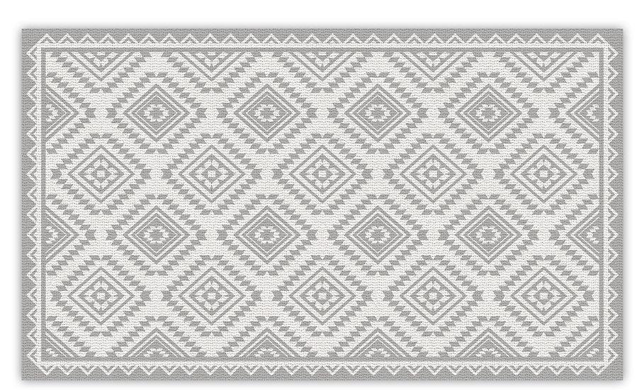 Casablanca - Vinyl Floor Mat - Light gray classic ethnic pattern