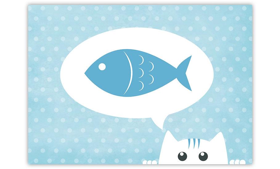 Hungry Cat  - Vinyl Pet Placemat - Light blue animals theme