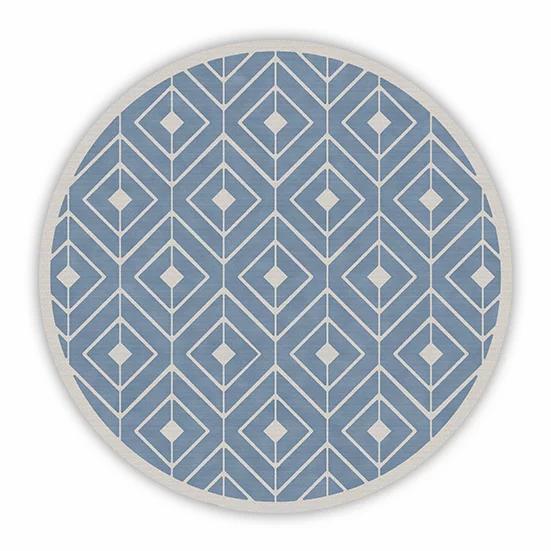 Round Kaya - Vinyl Floor Mat - Filled blue graphic pattern