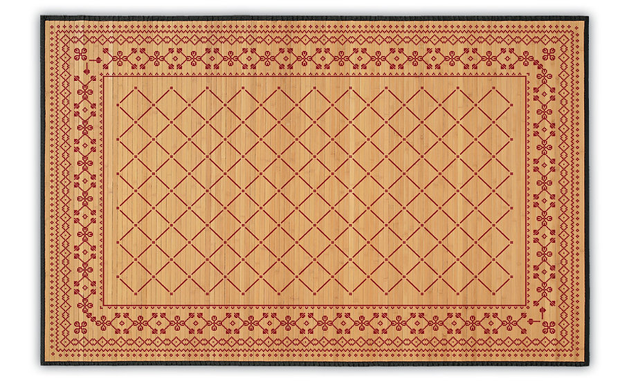 Sofia - Bamboo Mat - Red ethnic pattern