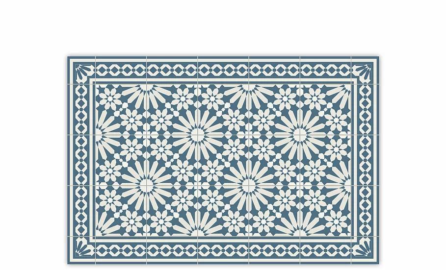 Tangier - Vinyl Table Placemat - Blue Moroccan tiles pattern