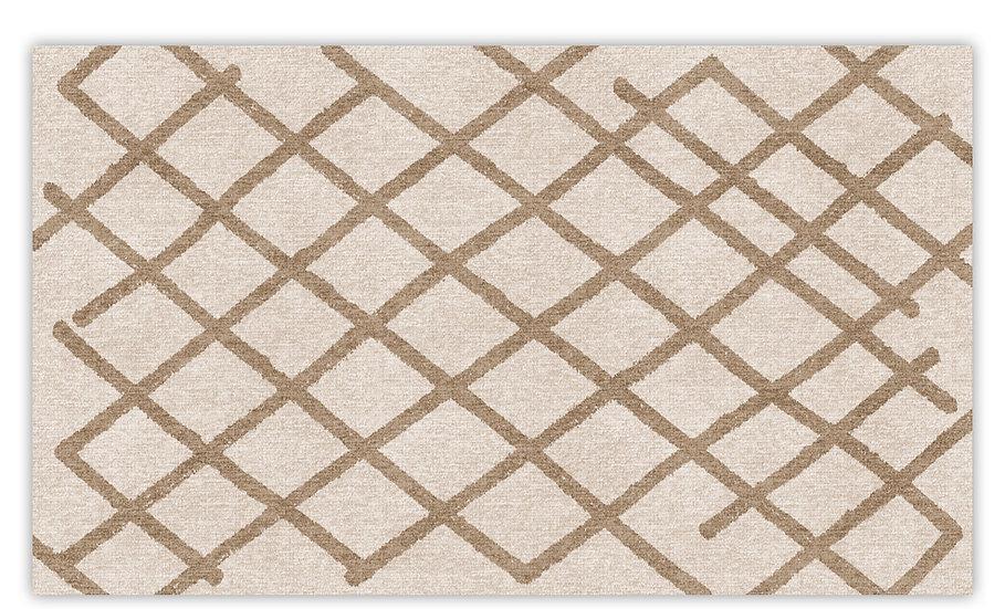 Atlas - Vinyl Floor Mat - Beige graphic pattern